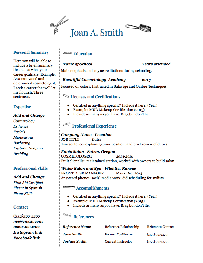 beauty school resume template