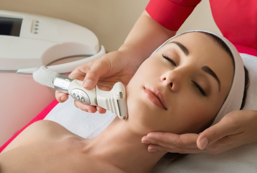 Woman getting a treatment at a medical spa
