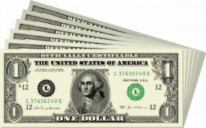 Dollar bills spread out