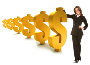 business woman standing with dollar symbols isolated over a white background