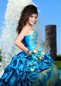 Woman in blue prom dress