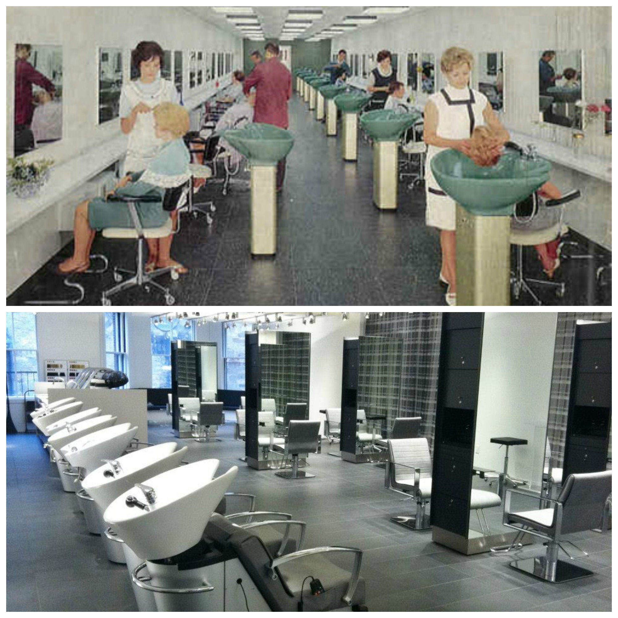 Salon collage then and now