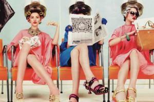 Retro woman at retro salon