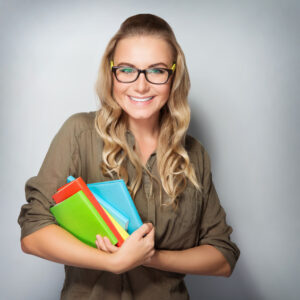 woman with school supplies