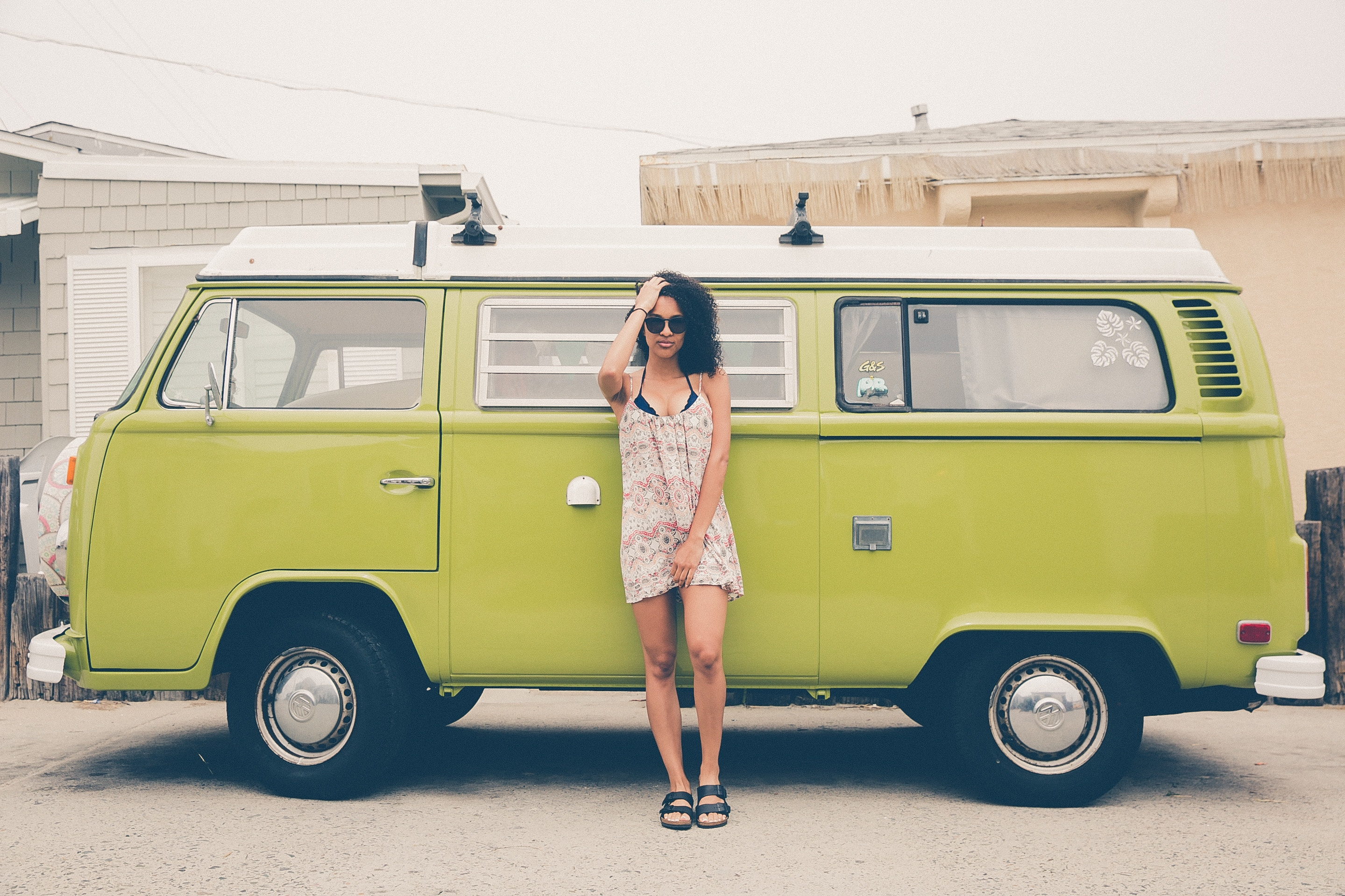 woman in her volkswagon van