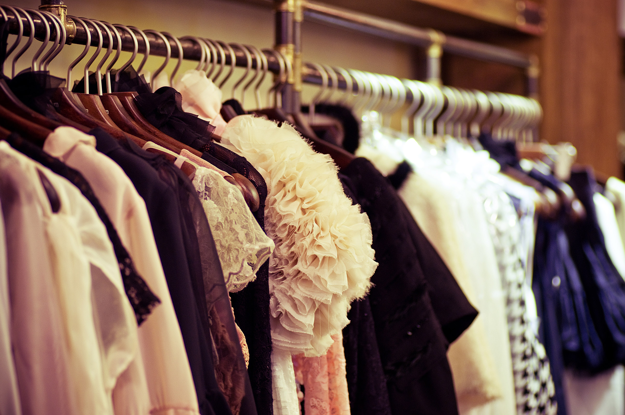 Closet full of woman's clothing