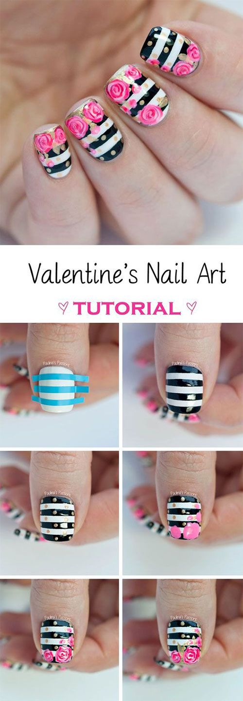 Striped nails with flower art