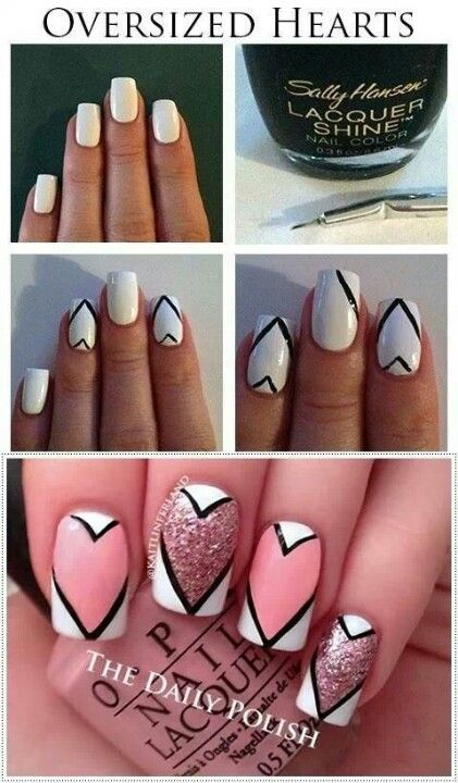 Nails with oversized heart art