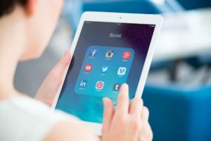 social media channels on tablet