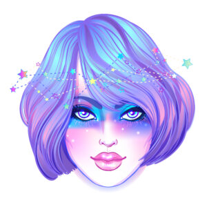 galaxy girl drawing