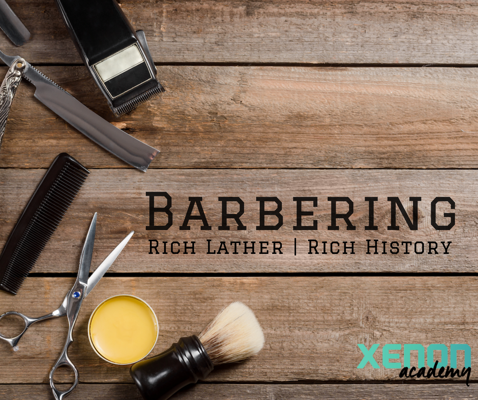 """Xenon Barber History"" written on wood, surrounded by barbering tools"